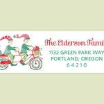 Holiday Return Address Labels with Elves Riding Bike, Christmas Address Labels, Elf Return Address Labels, Christmas Bike Labels, Elf Label