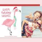 Holiday Photo Cards with Flamingo, Christmas Photo Card, Watercolor Flamingo Holiday Card, Christmas Photo Card, Unique Holiday Photo Card