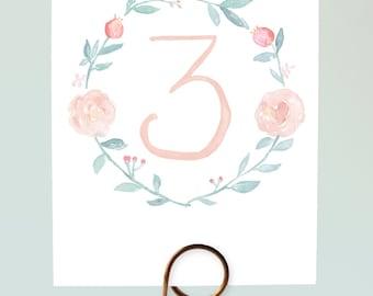 Watercolor Wreath Table Numbers, Pastel Wedding Table Numbers, Floral Wreath Table Numbers, Pretty Table Numbers, Romantic Table Numbers