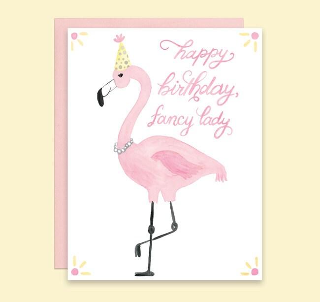 Flamant Rose Carte Danniversaire Carte Carte Joyeux Etsy