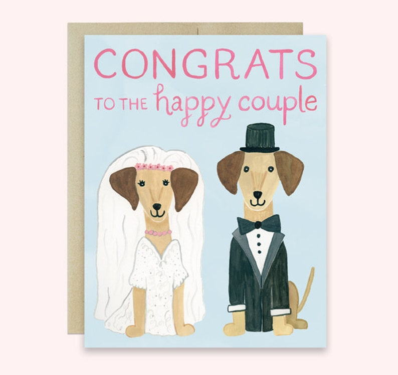 Dog Wedding Card Congratulations Wedding Card Dachshund image 0