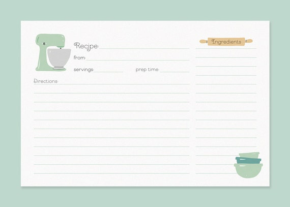 Recipe Card | Cute Recipe Cards Vintage Mixer Recipe Card Recipe Card With Etsy