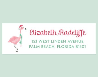 Holiday Return Address Labels with Festive Flamingo, Flamingo Holiday Labels, Flamingo Return Address Labels, Christmas Address Label
