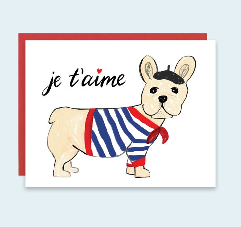 Dog Valentine's Card Je t'aime Valentines Day Card image 0