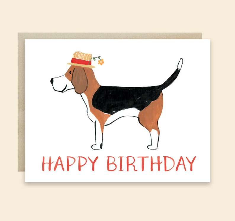 Dog Birthday Card Happy Beagle