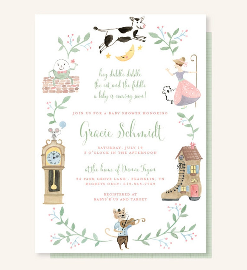 Nursery Rhyme Baby Shower Invitation  Cow Jumped Over the image 0