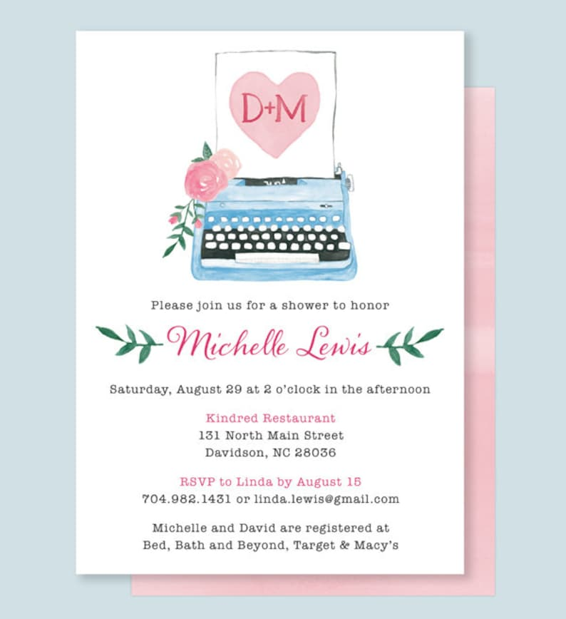 Vintage Typewriter Bridal Shower Invitation Typewriter Shower Invitation She Found Her Type Shower Invite Watercolor Typewriter