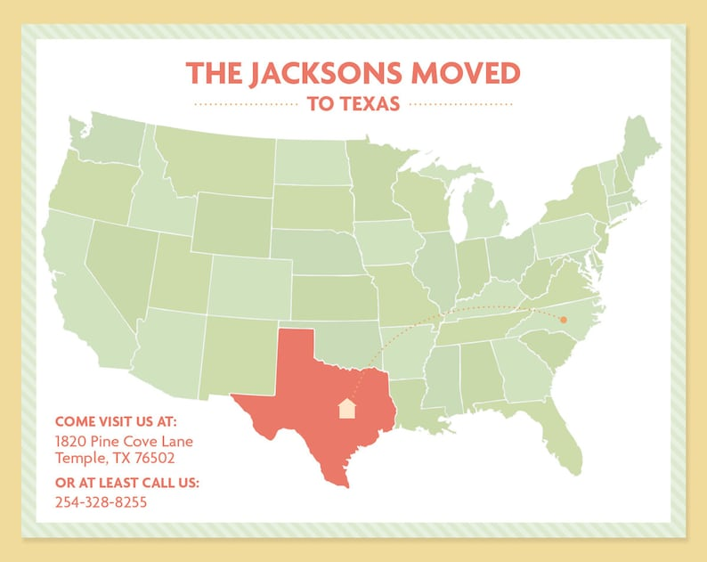 Map Moving Announcement Us Map Cross Country Move New Home Etsy - Cute-us-map