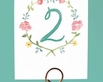 Watercolor Flower Table Numbers, Watercolor Wreath Table Numbers, Garden Wedding Table Numbers, Garden Table Numbers, Pretty Table Numbers