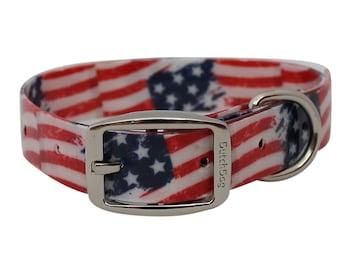Waterproof Dog Collar Stars and Stripes