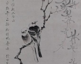 Japan Antique Scroll Wall Art,Japanese Fine Art,Wall Hanging Painting,Bird and Flower,kakejiku,kakekmono,Japanese interior,Ink Painting,Art