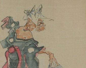 Japanese Scroll Painting,kakejiku,Kakemono,Japanese Scroll,Buddhist Art,Dansing Oni in Kimono,Dharma,Japanese Comic Art,Oni painting,K1132