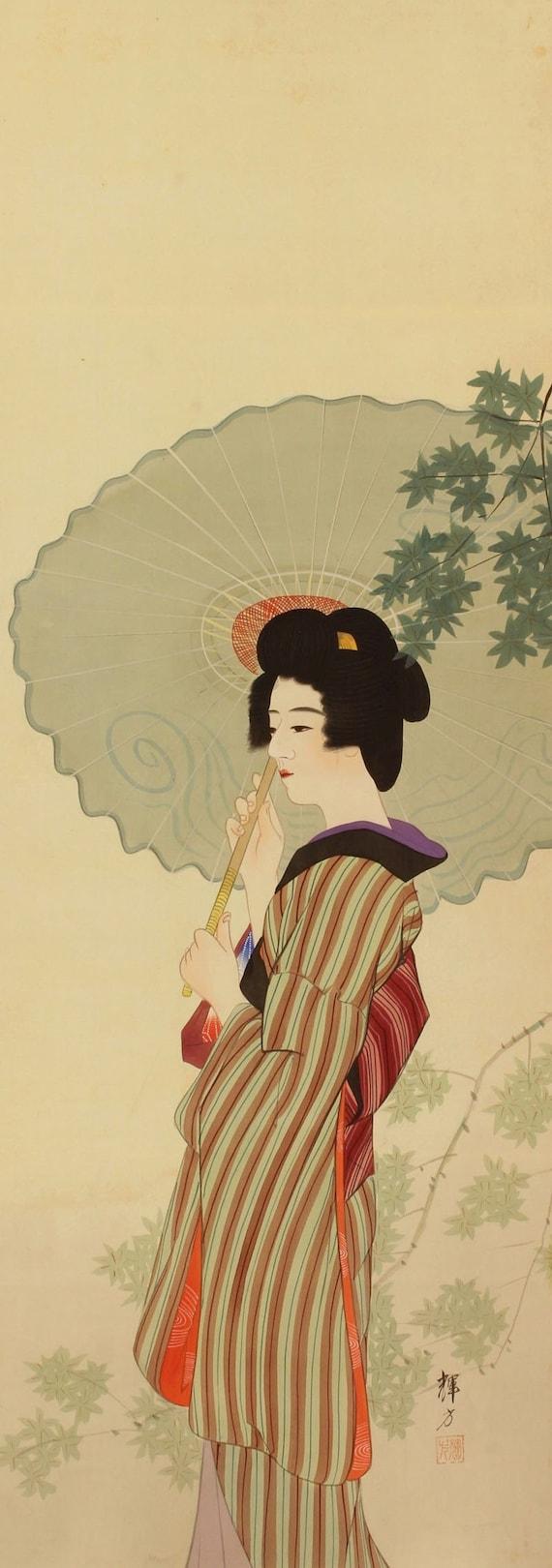 Japanese Scroll Painting Kakejiku Taisho Art Wall Décor | Etsy