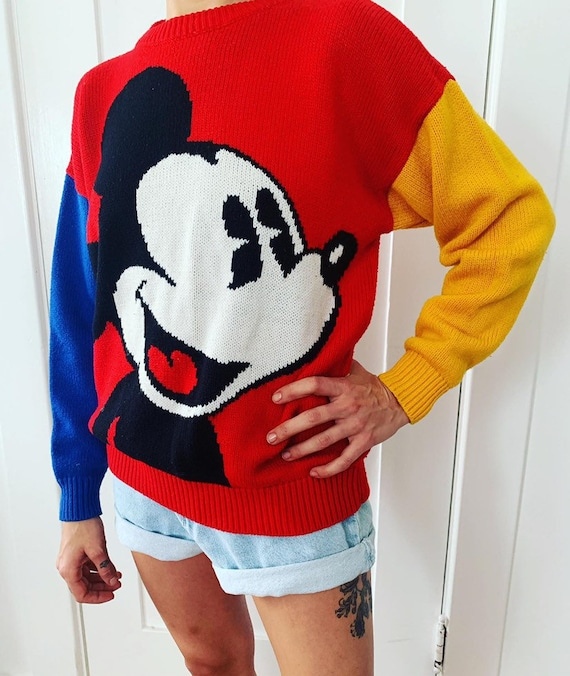 Vintage Mickey Mouse Color Block Wool Sweater