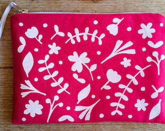 Floral white on bright pink - flat zip pouch - screen printed and handmade