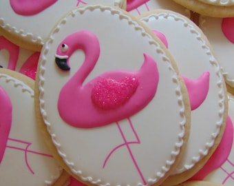 12 Pink Flamingo Cookies