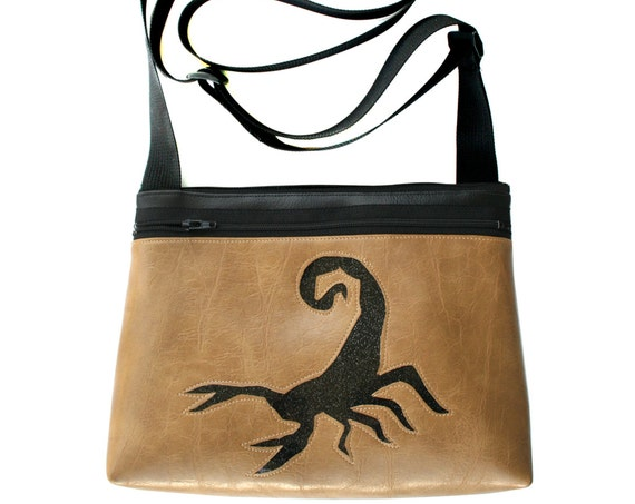 Scorpion, black glitter vinyl, tan, boxy cross body, vegan leather, zipper top