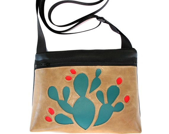 blue cactus, red blooms, tan vinyl, boxy cross body, vegan leather, zipper top