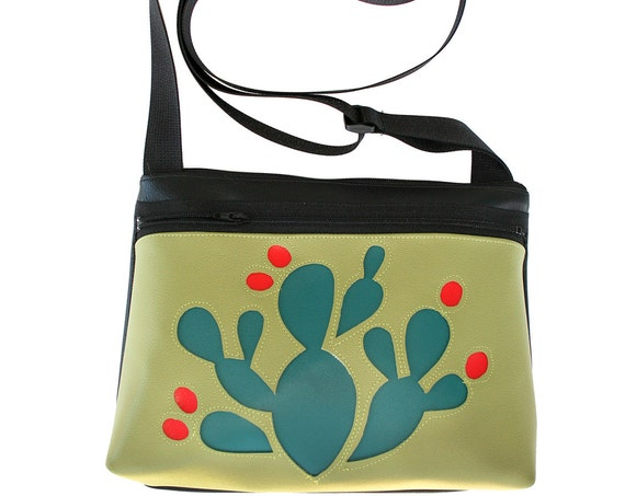 blue cactus, red blooms, avocado green, boxy cross body, vegan leather, zipper top