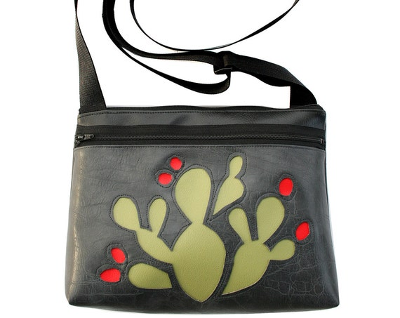 Green cactus, red blooms, grey, boxy cross body, vegan leather, zipper top
