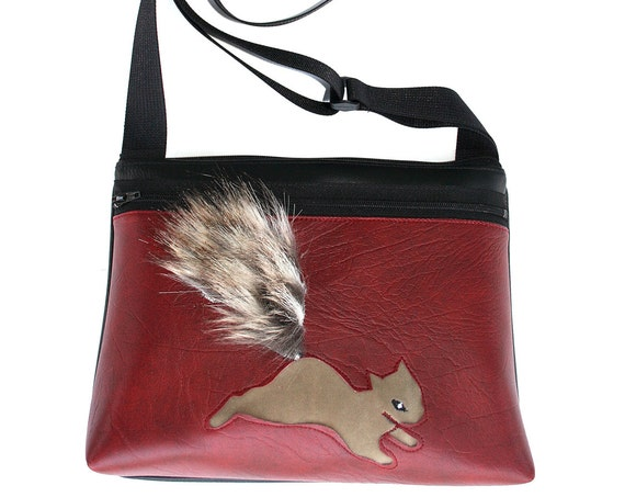 Squirrel, fake fur, dark red vinyl, boxy cross body, vegan leather, zipper top