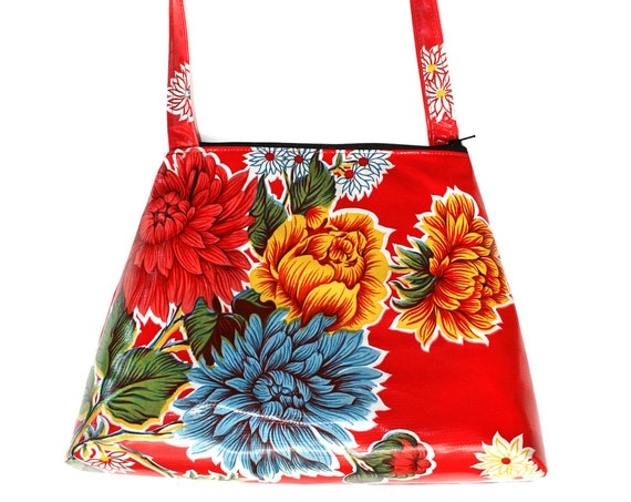 SALE! Red, oil cloth, floral, retro style, tall Retro