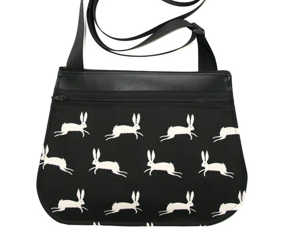 Bunnies, black and white, black vinyl, cross body, vegan leather, zipper top
