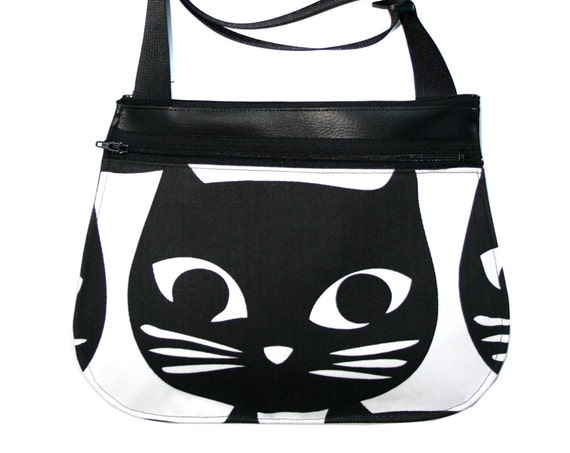 Black cat head, black vinyl, cross body, vegan leather, zipper top