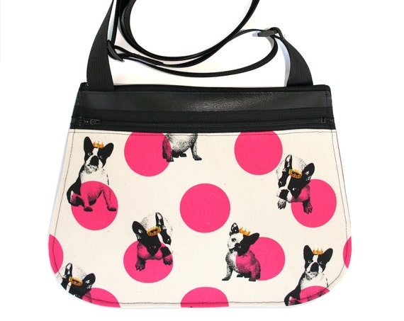 Boston Terriers, dogs, polk dots, black vinyl, cross body, vegan leather, zipper top