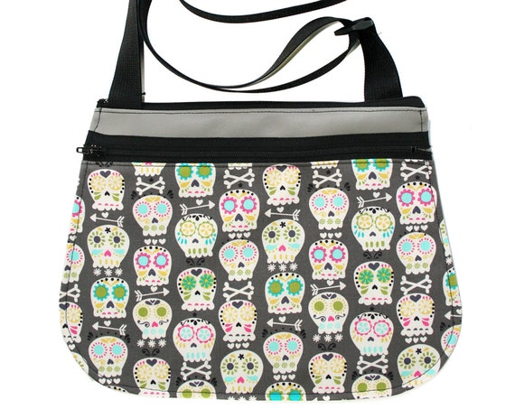 Sugar skulls, Dia de los Muertos, grey, cross body, vegan leather, zipper top