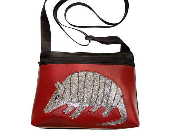 Armadillo, burgundy vinyl, silver glitter vinyl, boxy cross body, vegan leather, zipper top