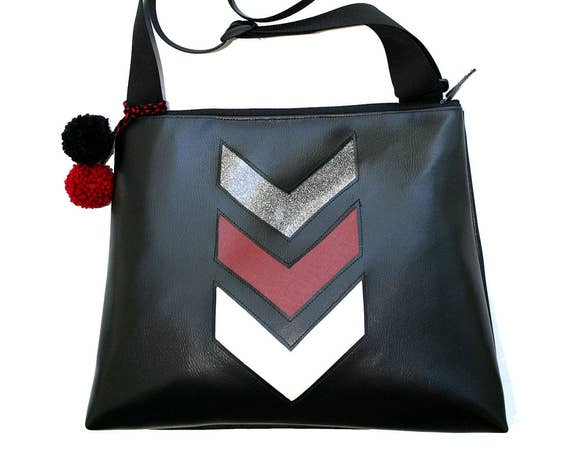 SALE! Black vinyl, chevron, glitter vinyl, vegan, vegan leather, large, cross body bag