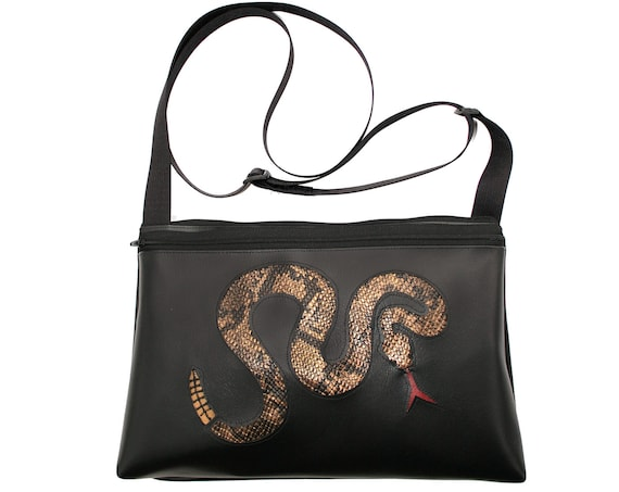 Rattlesnake, black vinyl, medium crossbody, vegan leather, zipper top