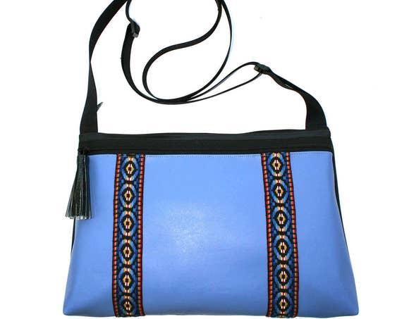 SALE! Blue vinyl, vintage trim, double stripe, boho, medium crossbody, vegan leather, zipper top, tassel