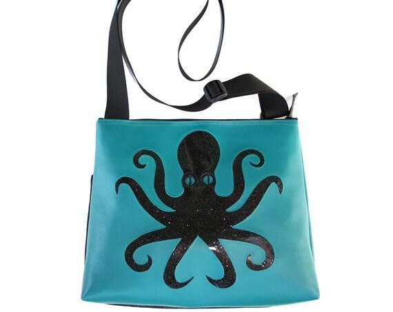 Octopus, black, blue vinyl, glitter vinyl, vegan, vegan leather, large, cross body bag
