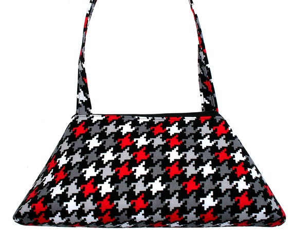 SALE!! SMALL Retro Tote, houndstooth, black, white, red, structured bag, vintage inspired