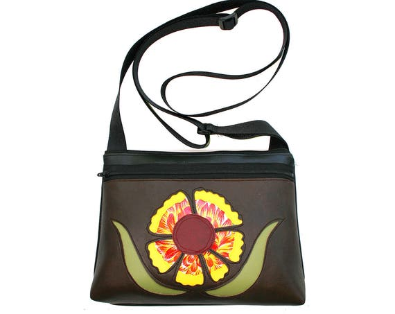 Indian blanket, wild flower, Texas, brown vinyl, boxy cross body, vegan leather, zipper top