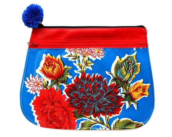 SALE! Clutch, oil cloth, blue floral, red vinyl, pom pom, zipper top, vegan