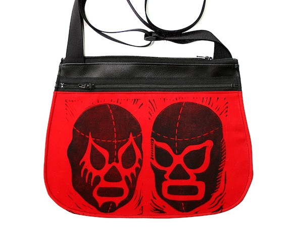 Luchadors, block print, red, black vinyl, cross body, vegan leather, zipper top