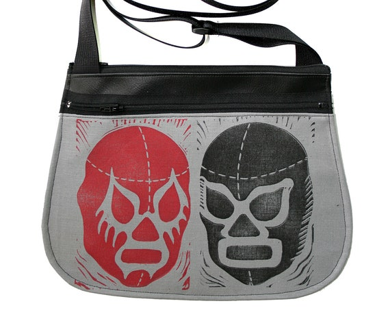 Luchadors, block print, grey, black, red, black vinyl, cross body, vegan leather, zipper top