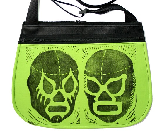 Luchadors, block print, neon green, black vinyl, cross body, vegan leather, zipper top