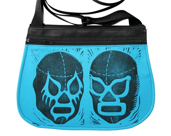 Luchadors, block print, turquoise, black vinyl, cross body, vegan leather, zipper top