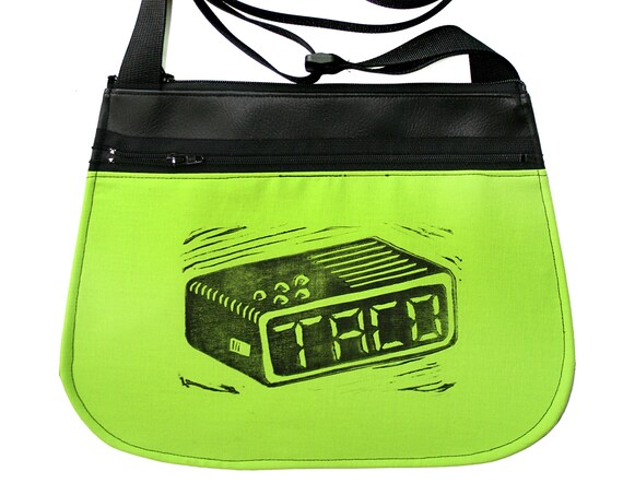 Tacos, taco time, block print, neon green, black vinyl, cross body, vegan leather, zipper top