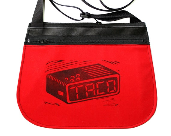 Tacos, taco time, block print, red, black vinyl, cross body, vegan leather, zipper top