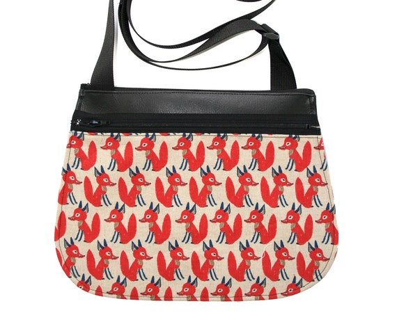 foxes, red, black vinyl, cross body, vegan leather, zipper top