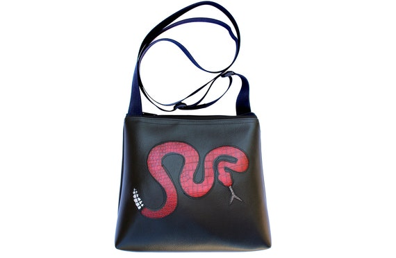 rattlesnake, snake, red, black, vinyl, vegan, crossbody, mid-size