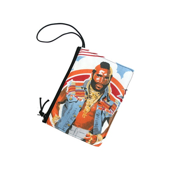 Mr. T, clear, wristlet, flat bag, small bag, zipper pouch