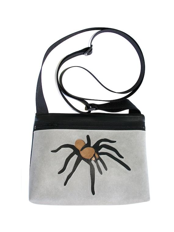 Tarantula, grey vinyl, boxy cross body, vegan leather, zipper top