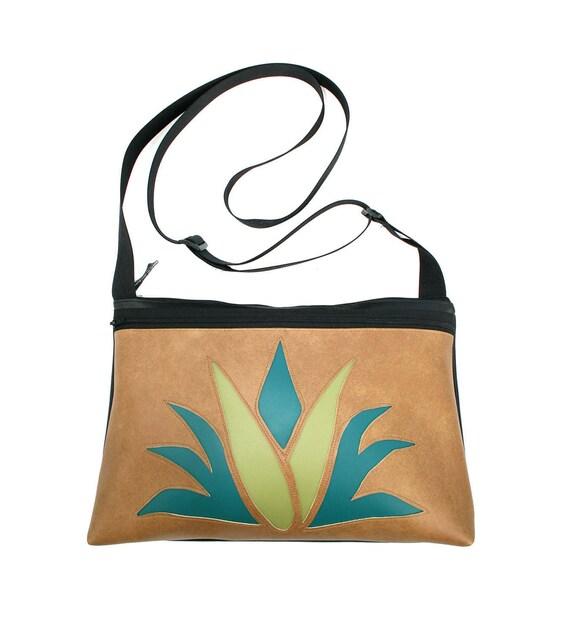 Agave, cactus, tan vinyl, medium crossbody, vegan leather, zipper top