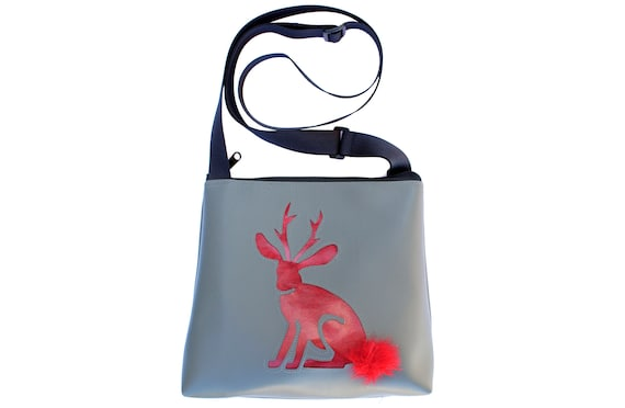 jackalope, grey, red, vinyl, faux fur, vegan, crossbody, mid-size
